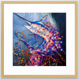 blue marlin, billfish. fishing decor