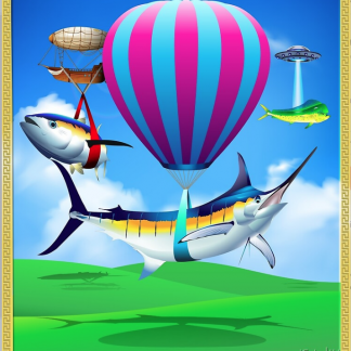Blue marlin, billfish, tuna, dolphin, mahi mahi, sport fish, flying fish, hot air balloon, Airship
